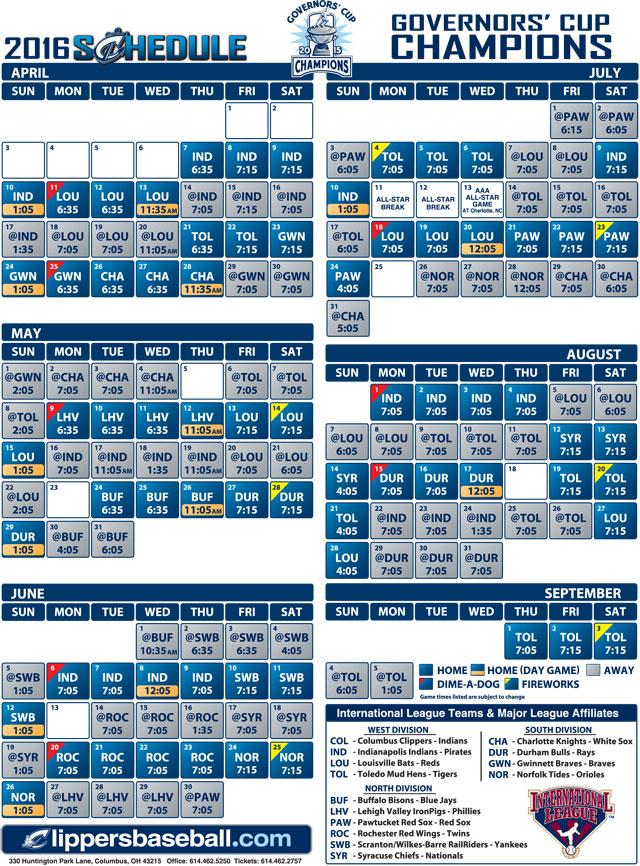 Columbus Clippers Announce 2016 Schedule | MiLB.com