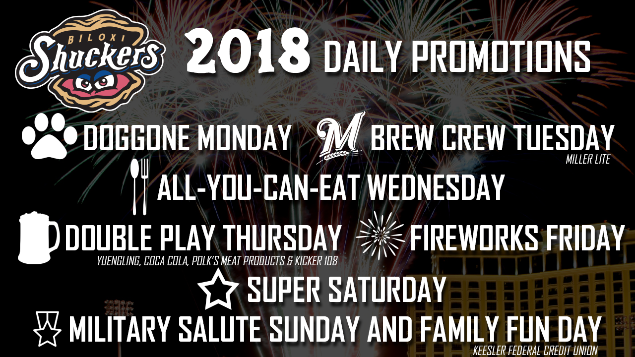 Daily Promotions Announced For 2018 Shuckers Season   Biloxi