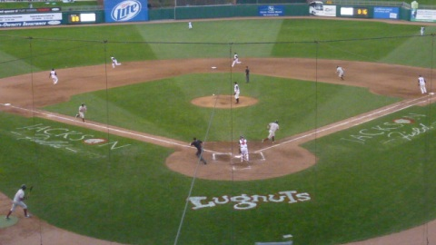 Mitch Haniger drives in a run early in the Timber Rattlers comeback win on Friday in Lansing.