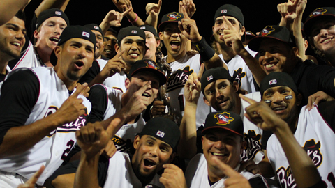 The River Bandits celebrate their Championship after Saturday's win.