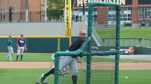 Matt Erickson pitches batting practice to the West Division All-Stars before Tuesday's All-Star Game in Dayton, Ohio.