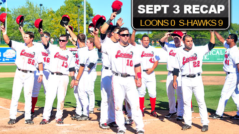The 2012 Great Lakes Loons acknowledge the fans following Monday's finale.