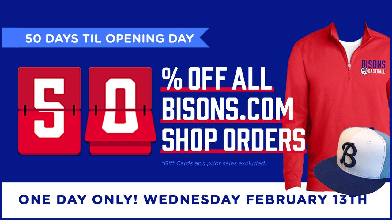 wholesale dealer ea504 bb5e3 Wednesday: Bisons.com one-day only 50% OFF Sale returns ...
