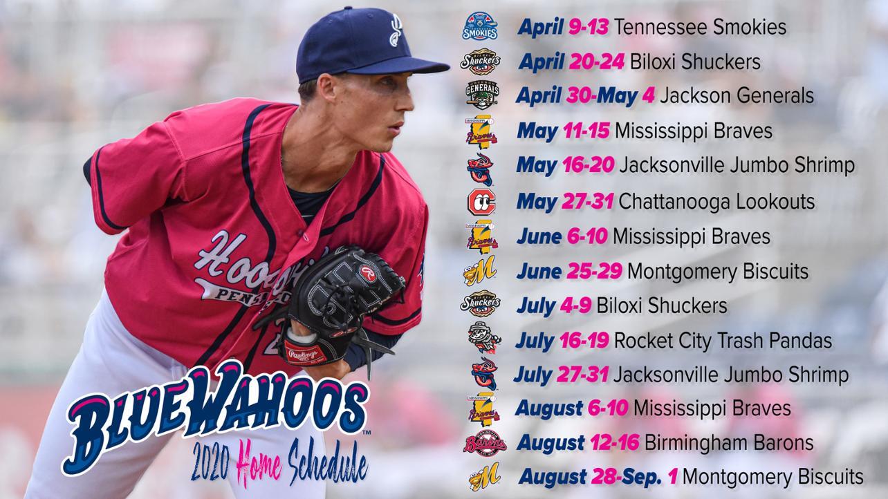 image regarding Mn Twins Printable Schedule titled Pensacola Blue Wahoos