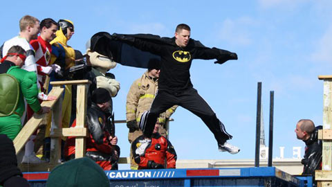 Batman took the Polar Plunge at one of Parkview Field's non-baseball events.