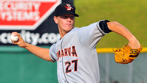Delmarva's Parker Bridwell struck out a career-high 14 over eight scoreless innings.