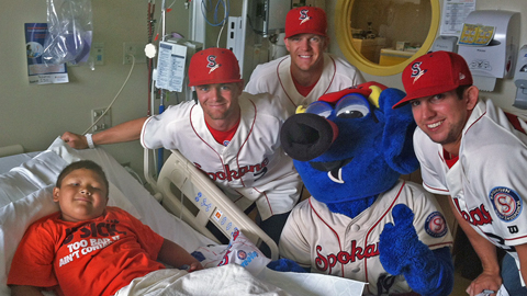 Spokane Indians players and OTTO visited Sacred Heart on July 17.