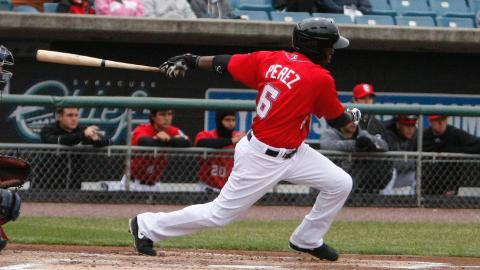 Eury Perez had two hits and scored a run on Saturday