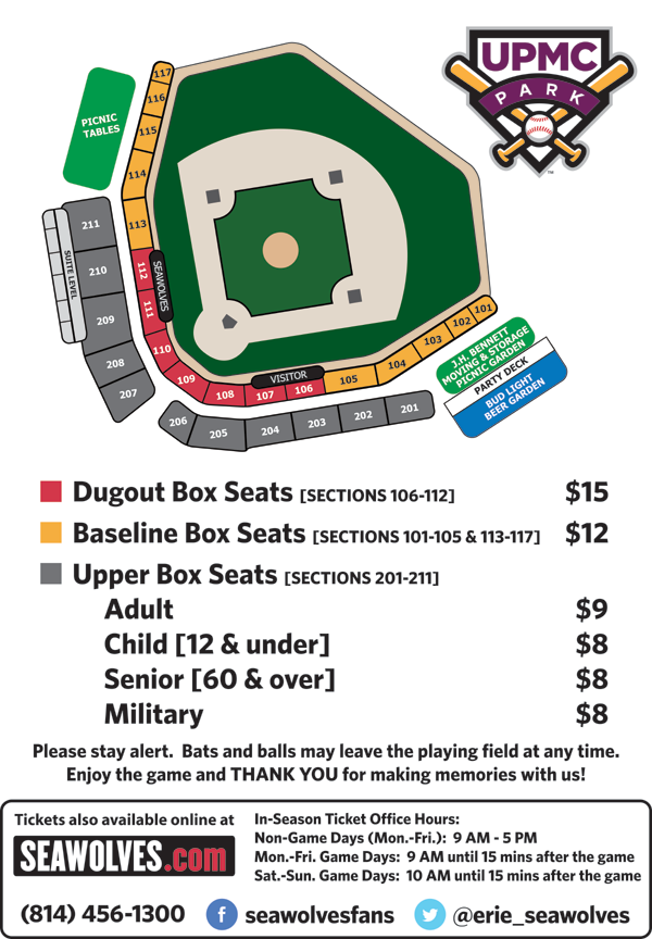 UPMC Park Seating Chart | Erie SeaWolves Content