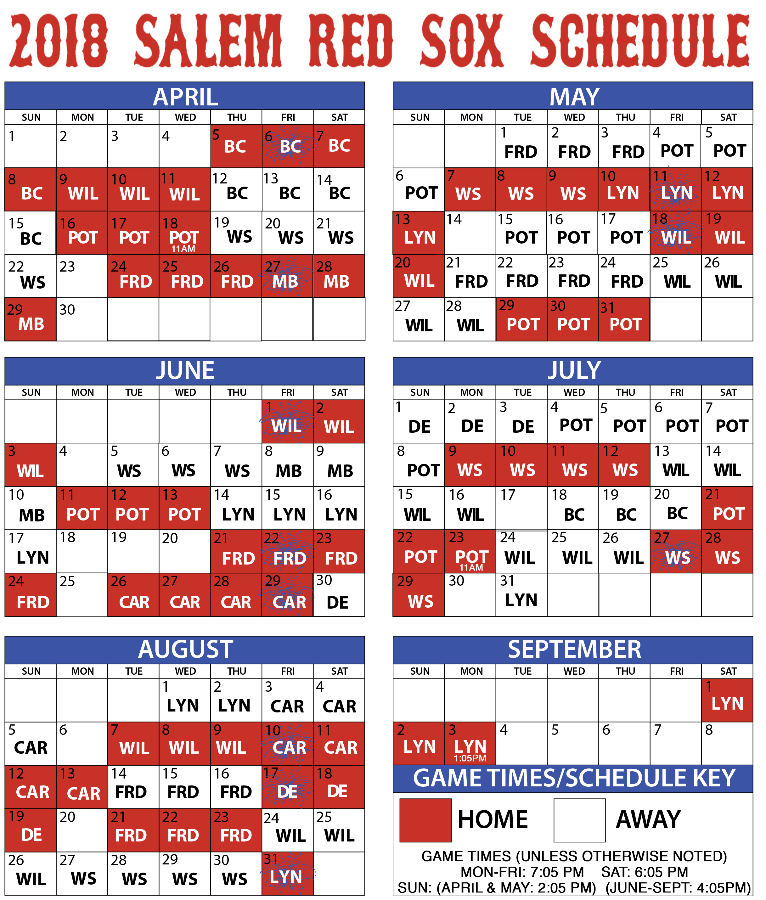 photo relating to Printable Red Sox Schedule called Salem Crimson Sox Video game-as a result of-recreation Success Salem Purple Sox Plan
