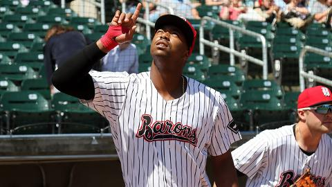 Eloy Jimenez hit 13 home runs over 71 career games with Double-A Birmingham.