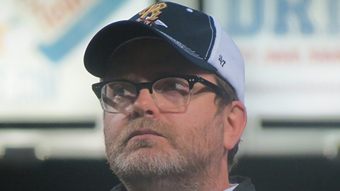 Rainn Wilson (Dwight) was among the cast members that donned RailRiders gear for The Office's big farewell at PNC Field.
