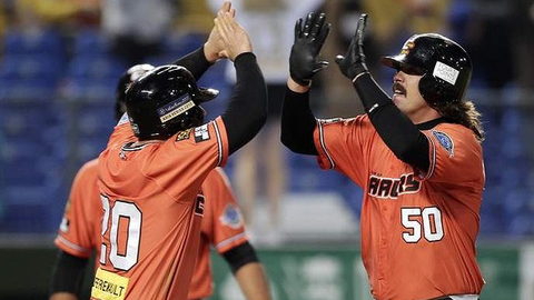 Fisher Cats catcher Jack Murphy (right) was named Asia Series MVP after slugging home runs in the semi-finals and finals for the victorious Canberra Cavalry.