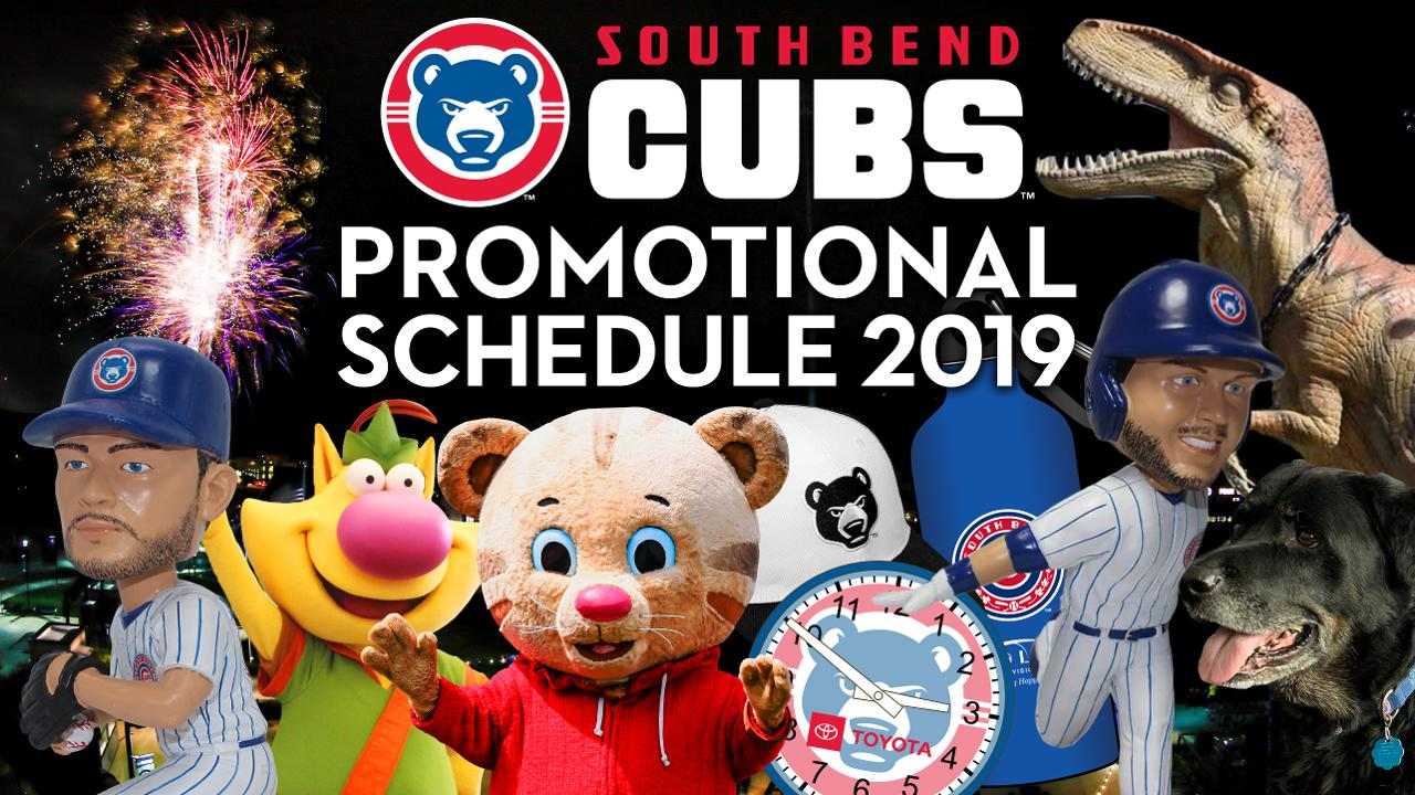 b04f5f93 Two Chicago Cubs bobbleheads, 19 firework shows, 11 flat screen giveaways,  and Dog Day Monday headline the promotional calendar.