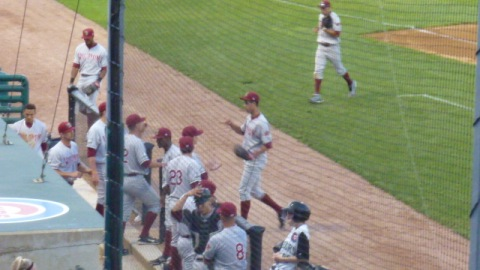 Jorge Lopez is greeted by his teammates as he reaches the dugout after the sixth inning on Friday night.