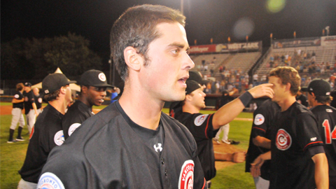 C's pitcher Zack Breault (above) moments after winning the NWL Championship in Boise, ID.