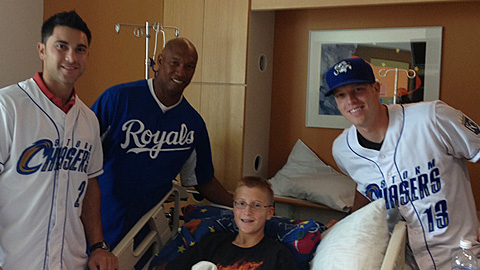 Anthony Seratelli and Buddy Baumann, the 2013 Johnny Rosenblatt Community Service Award winner, were two of the Storm Chasers players and staff members who donated their time to local groups in the Omaha Metro during the 2013 season.