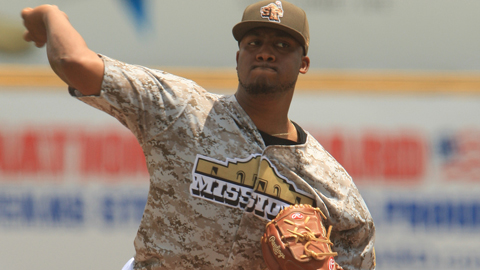 Keyvius Sampson struck out the side three times on Saturday.