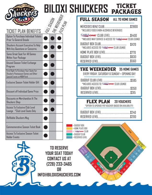 Ticket Package Breakdown | Biloxi Shuckers Tickets
