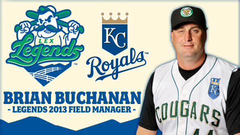 Brian Buchanan will manage the Legends in 2013, their first season as a Kansas City Royals affiliate.