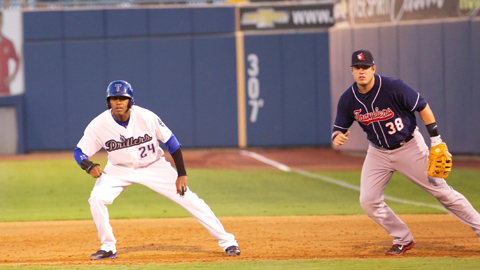 Delta Cleary Jr. leads away from first base during the opening game of the 2013 North Division Playoff Series between the Drillers and Arkansas Travelers on Wednesday night at ONEOK Field. Tulsa fell behind 1-0 in the best-of-five series after dropping the contest 8-3.