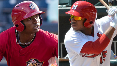 Gregory Polanco (left) and Oscar Taveras are both among MLB.com's top four outfield prospects.