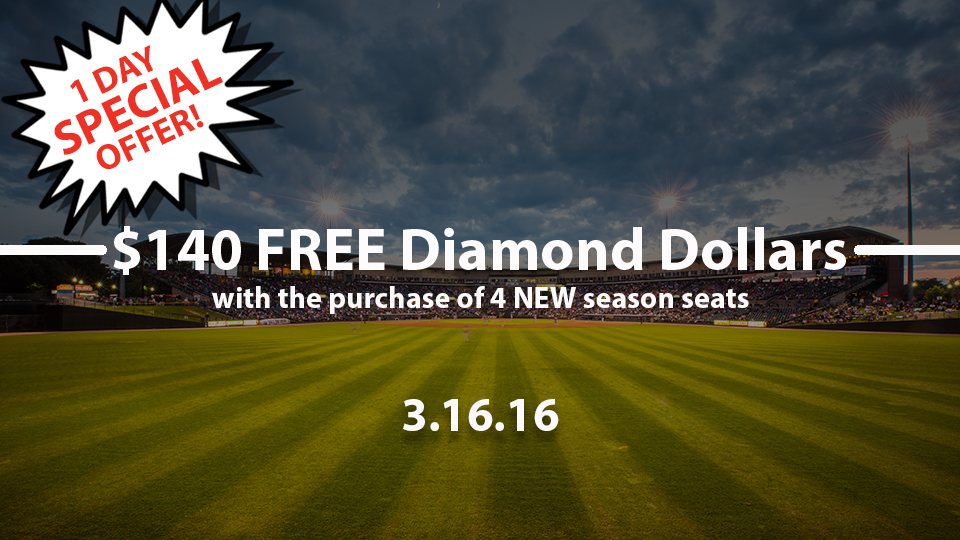 $140 Diamond Dollars with 4 NEW seats   Rochester Red Wings News