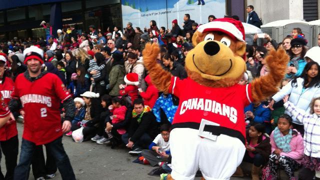 Vancouver Christmas Parade.Bob Brown Bear Gets Into Holiday Spirit At Santa Claus