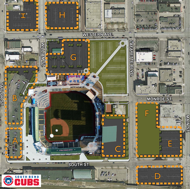 Stadium Parking South Bend Cubs Four Winds Field
