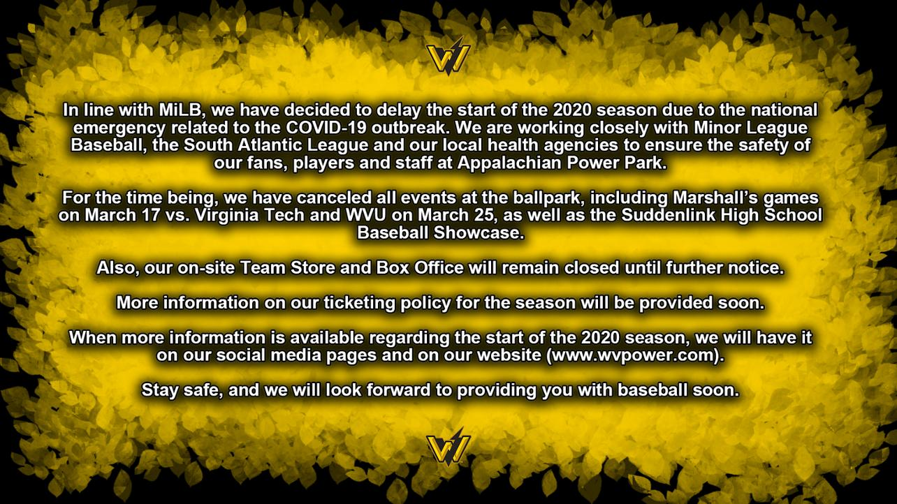 Official Statement on the 2020 Season