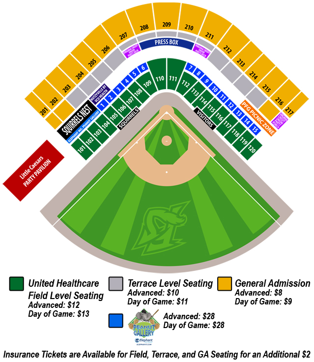 Seating Chart | Richmond Flying Squirrels The Diamond