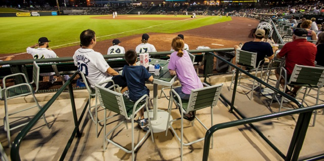 Enjoy The Company Of Friends Clients Or Co Workers In Your Own Personal Outdoor Mini Suite At Ballpark With High Top Table And Chair Seating For Four