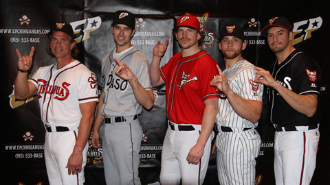 The white jersey (L) is part of the Chihuahuas' standard home uniform.