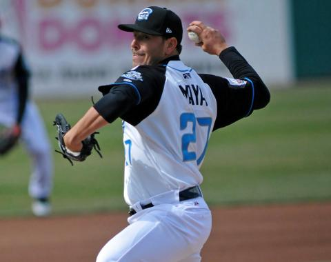 Yunesky Maya struck out nine in his first win of the season on Monday.