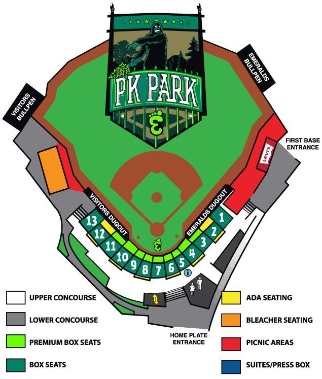 Seating Chart Eugene Emeralds PK Park - Blue jays seating chart