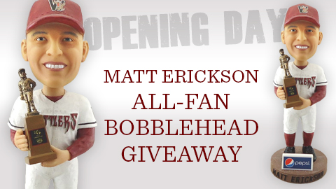 This is the bobblehead of Matt Erickson that will be the All-Fan Giveaway on Monday, April 8 for the Rattlers home opener against Cedar Rapids.