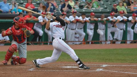 ValleyCats LF Dan Gulbransen connecting for one of his three hits in Thursday's 9-4 win over Lowell. Gulbransen went 3-for-5 with an RBI
