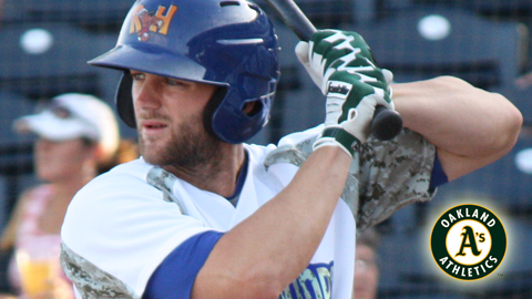 Shane Peterson was one of three former RockHounds added to the A's 40-man roster