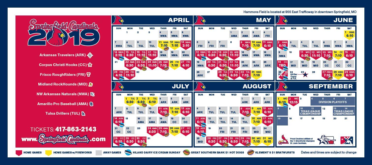 2020 St Louis Cardinals Calendar Springfield Cardinals Promotions | Cardinals