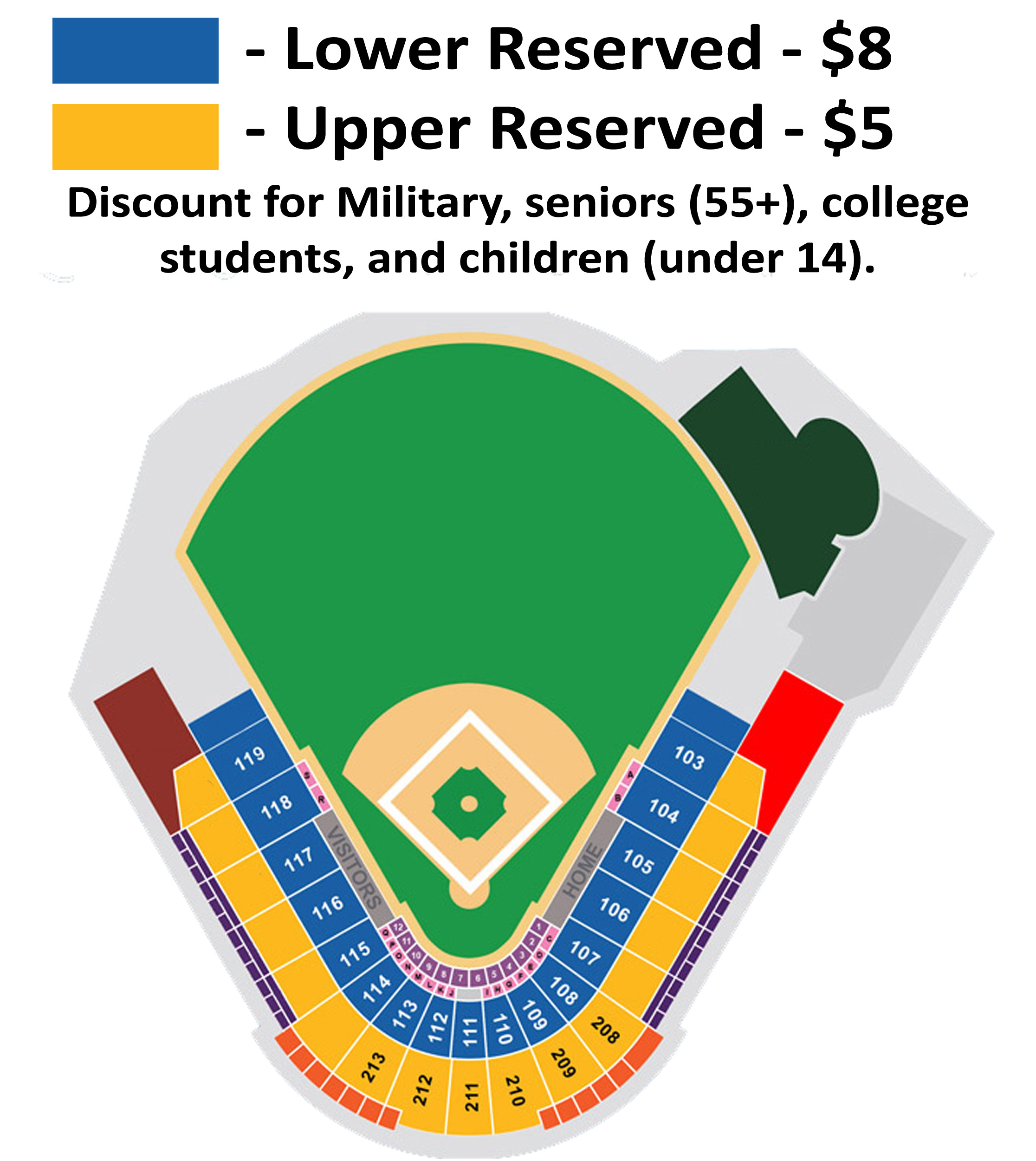 Seating chart and ticket prices tampa tarpons gms field