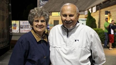 George Spelius and his wife, Nancy, at a Midwest League game in 2012.