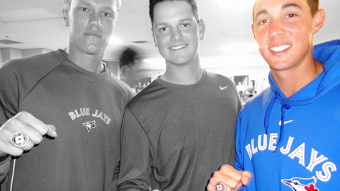 (L-to-R) RHP Noah Syndergaard, LHP Justin Nicolino and RHP Aaron Sanchez.