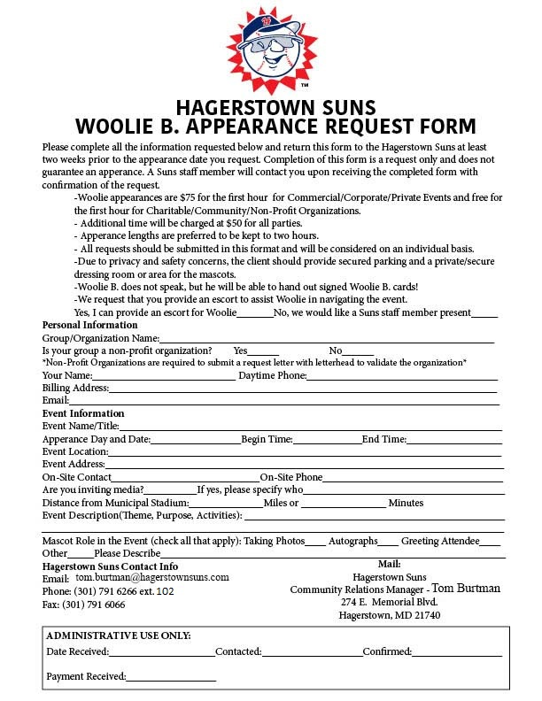 Appearance And Donation Requests  Hagerstown Suns Community