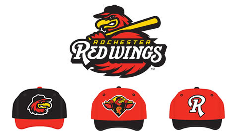 The Wings' new primary logo (top); bottom, L to R: home cap, road cap, and alternate cap.