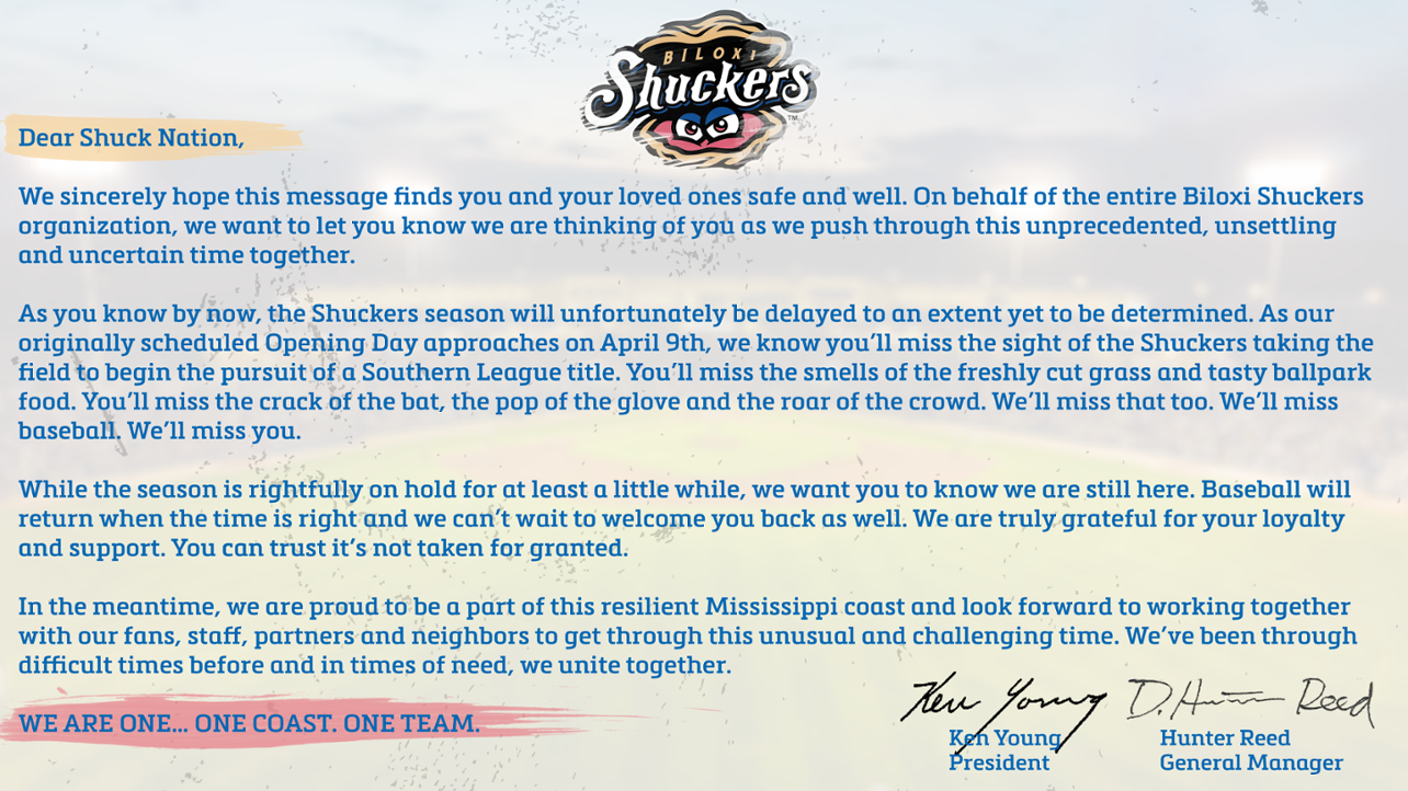 Letter To Shuckers Fans COVID-19 Panel