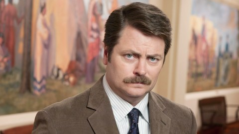 Ron Swanson's mustache is possible role model of Movember.