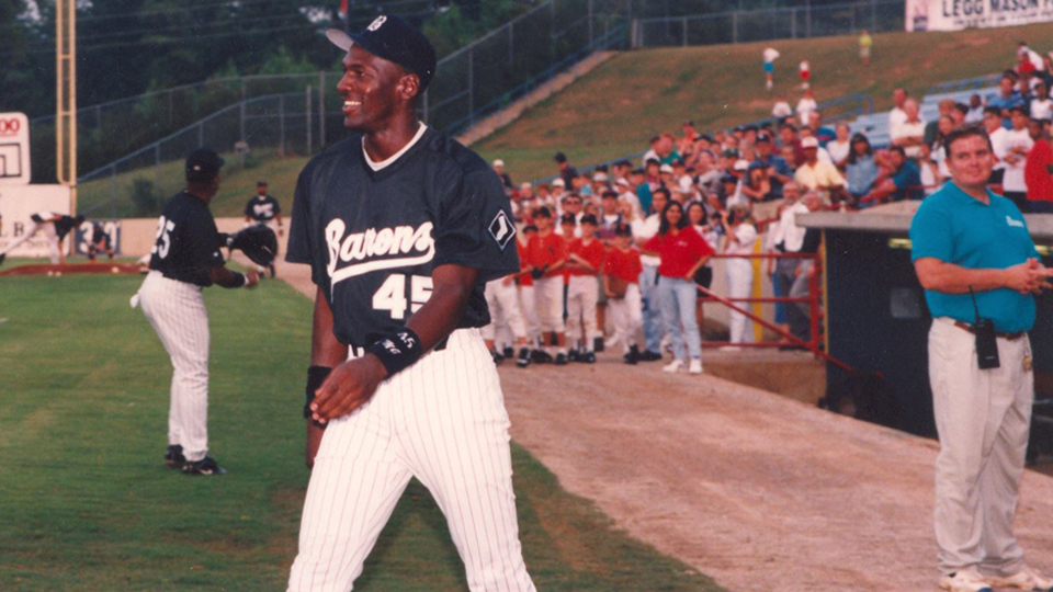 a5204bd2f530 Michael Jordan collected 88 hits and scored 46 runs in his lone season of  professional baseball. (Birmingham Barons)
