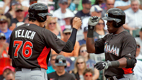Marcell Ozuna and Christian Yelich combined for five hits and eight RBIs.