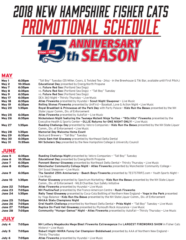 2018 Promotional Schedule | New Hampshire Fisher Cats Tickets