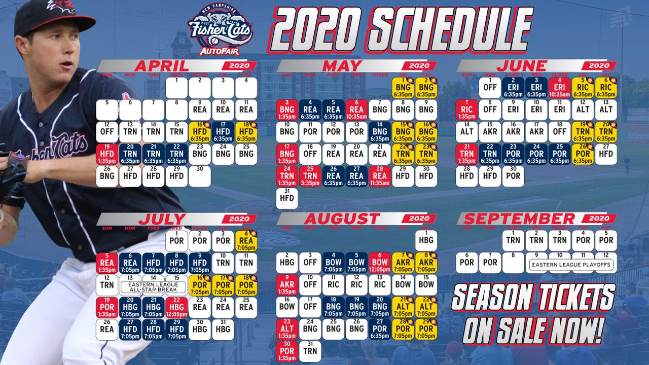 Akron Rubber Ducks Schedule 2020 Fisher Cats Announce 2020 Schedule | New Hampshire Fisher Cats News